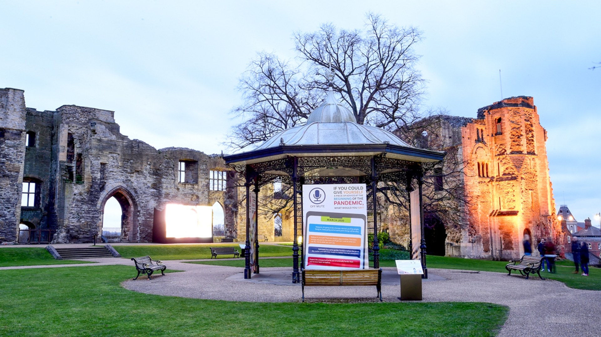 Bandstand graphics, signage and castle lighting